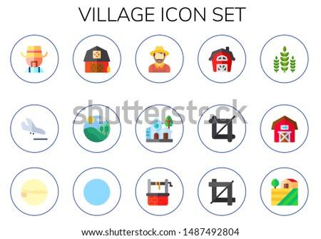 village icon set 15 flat