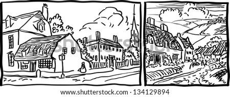 royaltyfree cartoon hand drawing houses frame 120326356
