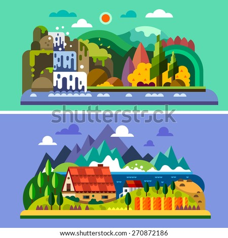 Village landscape: house in mountains, river, sea, waterfall, forest. Vector flat illustrations