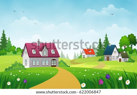 Village landscape with green lawns, hills and country houses under blue sky with clouds #622006847