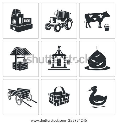village life vector icons set