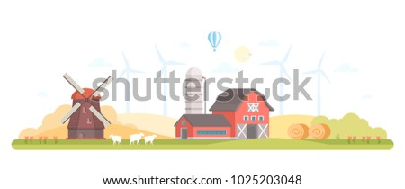 Village - modern flat design style vector illustration on white background. A composition with a barn, windmill, silage towers, farm animals, tractor, haystacks. High quality image for your banner