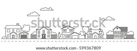 Shutterstock Village neighborhood line art vector. Residential buildings on suburban street.