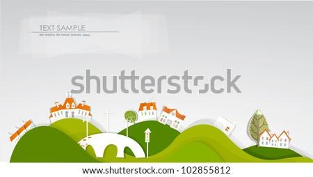 Village on the hills and bridge background