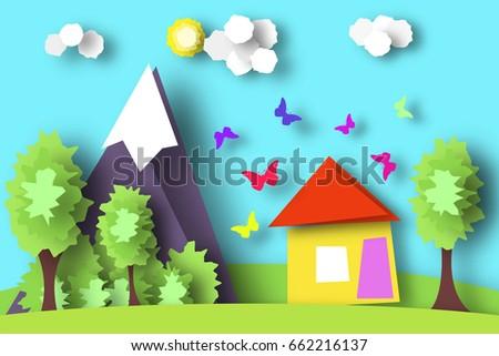 village scene paper world