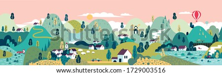 Village. Small town. Rural and urban landscape.