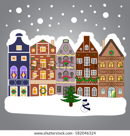 village winter landscape with