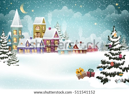 village winter landscape with