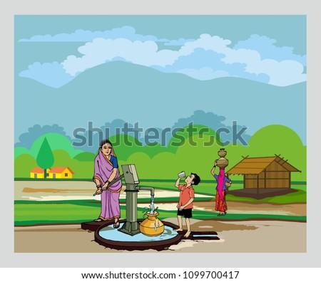 village with hand pump