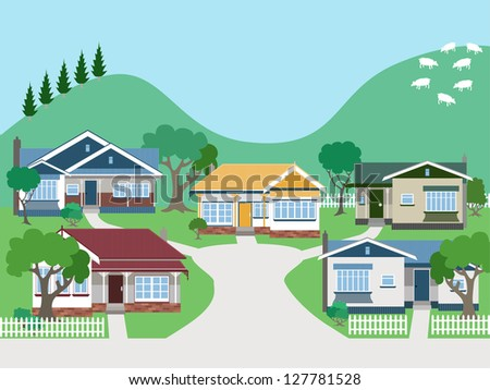 Villas and Bungalow Houses in Suburban Street EPS8 grouped and layered