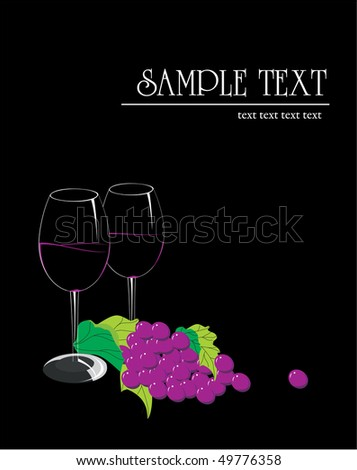Vine and grapes. Vector.