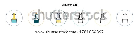 Vinegar icon in filled, thin line, outline and stroke style. Vector illustration of two colored and black vinegar vector icons designs can be used for mobile, ui, web Foto stock ©