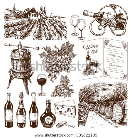 Vinery farm and vinery grape agriculture hand drawn Vinery agriculture working beverage