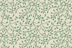 vines and ivy background with climbing leaves in green on a pastel beige or yellow background in a pretty charming random pattern design