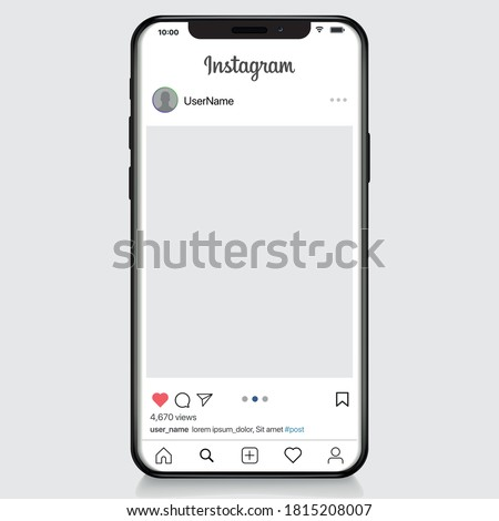 Vinnytsia, Ukraine, September 15 2020: Instagram post template on apple iphone vector illustration. Perfect social media post frame illustration. Premium quality.