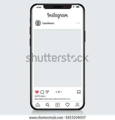 Vinnytsia, Ukraine, September 15 2020: Instagram post template on apple iphone vector illustration. Perfect social media post frame illustration. Premium quality.