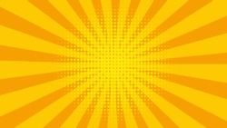 Vintage abstract background template with yellow sunrays. Starburst wallpaper. Retro bright backdrop. Vector EPS 10.