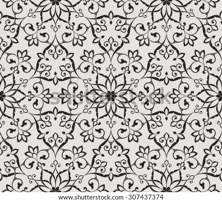 Vintage abstract floral seamless pattern. Intersecting curved elegant stylized leaves and scrolls forming abstract floral ornament in Arabic style. Arabesque.