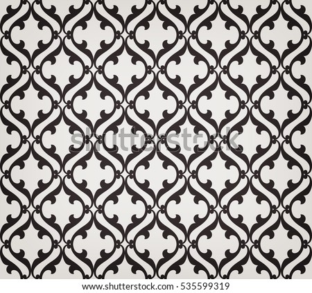 Vintage abstract floral seamless pattern. Intersecting curved elegant stylized leaves and scrolls forming abstract floral ornament in Arabian style. Arabesque. Decorative lattice