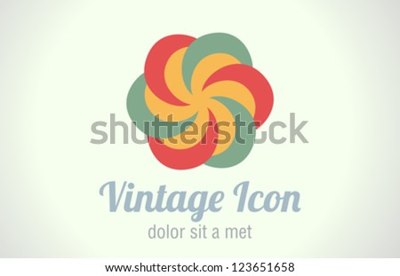 Vintage abstract infinity logo design template. Infinite circle shape.  Vector icon. Retro style. - stock vector
