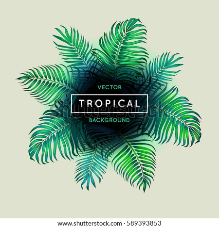 Vintage abstract vector tropical background. Palm leaves. Exotic tree foliage. Border. Green foliage and text. Jungle theme design template for banner or poster. Frame. EPS 10. #589393853