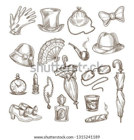 Vintage accessories retro hats and footwear jewelry and cosmetics vector gloves cylinder and purse bowtie and fan smoking pipe watch and lipstick umbrella glasses and perfume whiskey and cigar