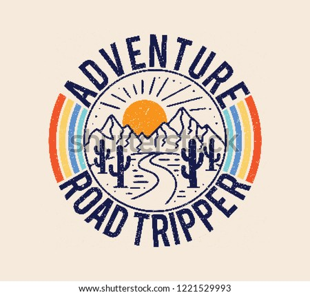 Vintage Adventure Road Tripper Mountain and cactus illustration, outdoor adventure . Vector graphic design for t shirt and other uses.