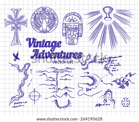 vintage adventures  vector set