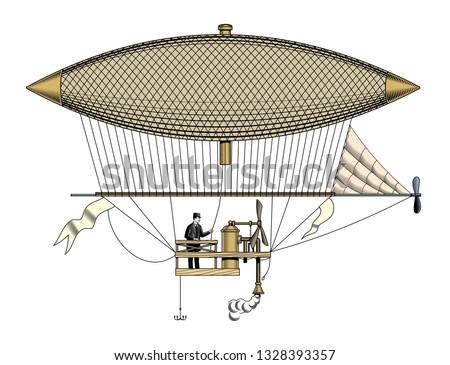 vintage aerostat or zeppelin