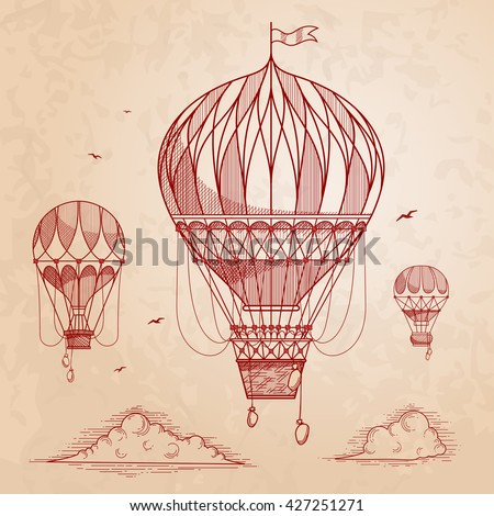 Vintage air balloons. Retro engraving air balloons in the clouds. Vector illustration.