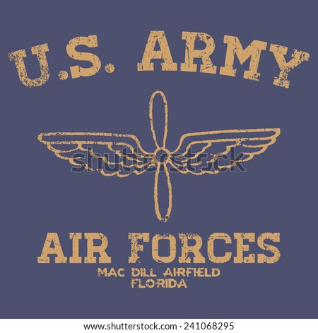 vintage air force typography  t