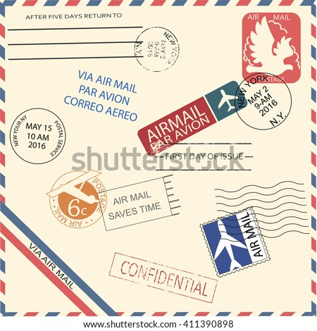 vintage air mail envelope with