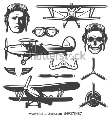 Vintage aircraft elements set with face pilot glasses airplanes wings wheel propellers skull isolated vector illustration