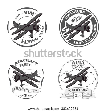 vintage airplane emblems