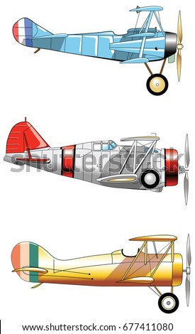 Vintage Airplanes. Design set. Old fashion blue red yellow army aircraft. Vector vintage illustration flying machine.