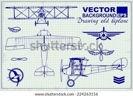 vintage airplanes drawing on
