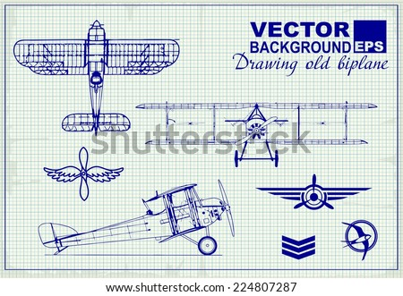 vintage airplanes drawing on