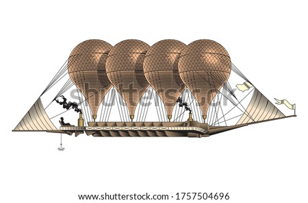 vintage airship  aerostat  hot
