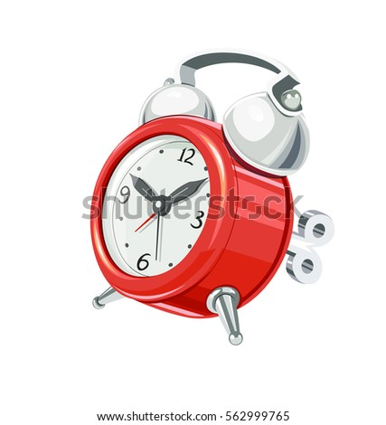 Vintage alarm clock with arrow and bells. Mechanics round. Watch vector illustration. Isolated white background