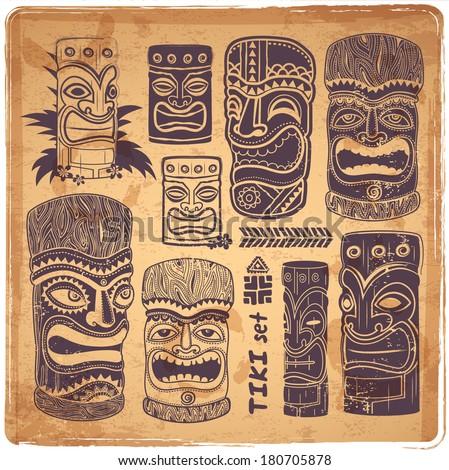 vintage aloha tiki icons set