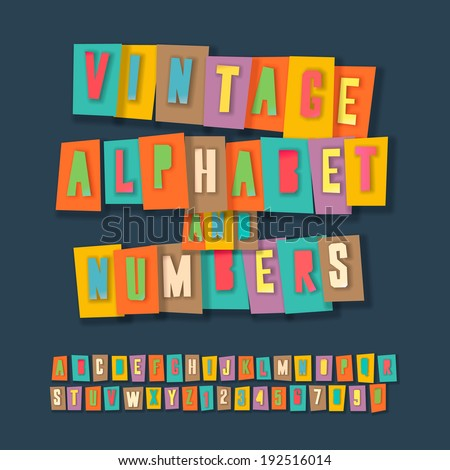 Vintage alphabet and numbers, colorful paper craft design, cut out by scissors from paper. Vector illustration.