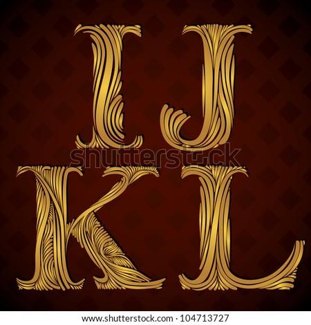Vintage alphabet, floral letters i j k l.