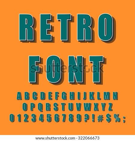 Vintage Alphabet. Retro font for design. Vector eps10.