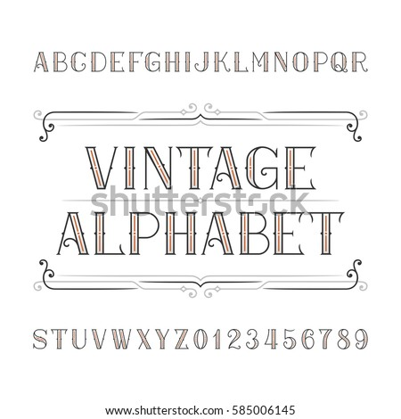 Vintage alphabet vector font in outline style. Ornate letters and numbers. Stock vector typeface for your design.