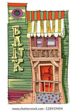 vintage american bank   cartoon
