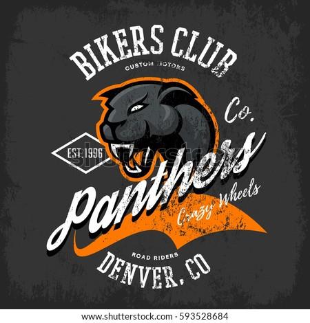 Vintage American panther bikers club tee print vector design isolated on dark background. Colorado, Denver street wear t-shirt emblem. Premium quality wild animal superior logo concept illustration.