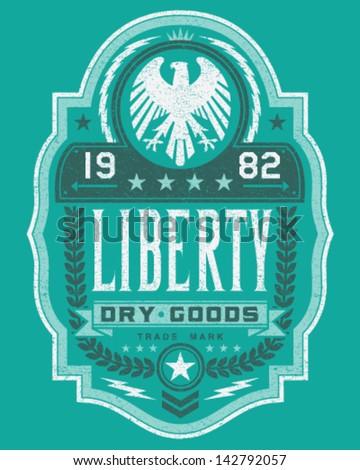 Vintage Americana Style Liberty Label Vector