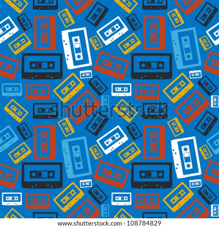 Vintage analogue audio cassette seamless pattern  Vector file layered for easy manipulation and custom coloring
