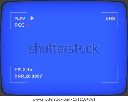 Vintage analogue camera frame viewfinder. VHS tape blue display. Retro 80's style pixel art background overlay. Visual effect