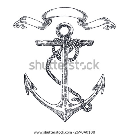 vintage anchor graphic on white